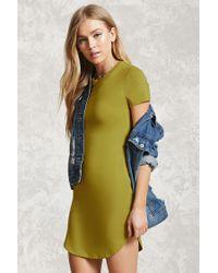 Forever 21 - Green Curved Hem T-shirt Dress - Lyst
