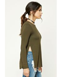 Forever 21 - Green Slub Knit Vented Top - Lyst