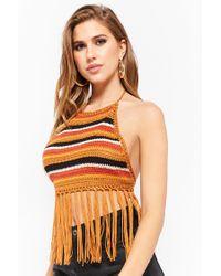 Forever 21 - Black Women's Striped Crochet Halter Top - Lyst