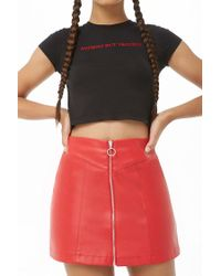 Forever 21 - Red Faux Leather Mini Skirt - Lyst