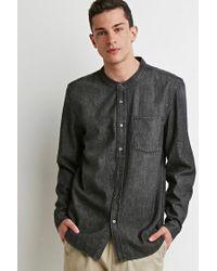 Forever 21 - Gray Mandarin Collar Denim Shirt for Men - Lyst
