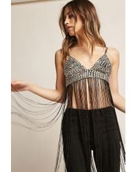 Forever 21 - Fringed Metallic Crop Cami - Lyst