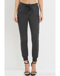 Forever 21 - Gray Zippered Moto Joggers - Lyst