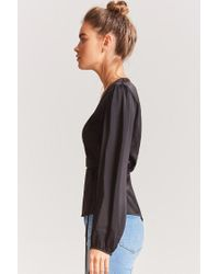 Forever 21 - Black Satin Wrap Top - Lyst