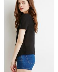 Forever 21 - Black Embroidered Mesh Panel Top - Lyst