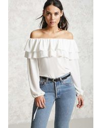 Forever 21 | White Off-the-shoulder Flounce Top | Lyst