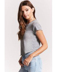 Forever 21 - Gray Raw-cut Slub Tee - Lyst