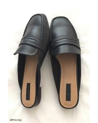 Forever 21 - Black Faux Leather Loafer Mules - Lyst