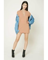 Forever 21 - Natural Crisscross Lace-up Dress - Lyst