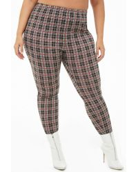 bd3b7367b56 Forever 21 Women s Plus Size Plaid High-waisted Pants in Black - Lyst