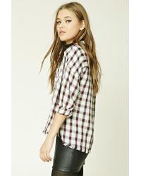 Forever 21 - Natural Women's Frayed Check Shirt - Lyst