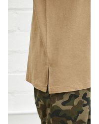 Forever 21 - Natural 's Cotton-blend Longline Tee Shirt for Men - Lyst
