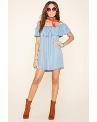 Forever 21 - Blue Chambray Flounce Dress - Lyst