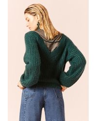 Forever 21 - Green Fuzzy Ribbed Knit Sweater - Lyst