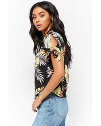 Forever 21 - Black Tropical Leaf Shirt - Lyst