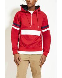Forever 21 - Red Hooded Varsity-stripe Anorak - Lyst