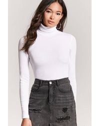 Forever 21 - White Ribbed Turtleneck Top - Lyst