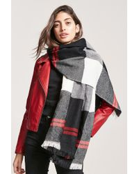 Forever 21 - Black Tartan Check Fringe Scarf for Men - Lyst