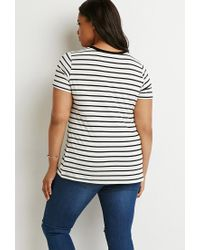 Forever 21 - Black Contrast-trim Striped Tee - Lyst