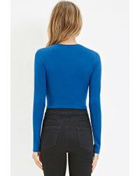 Forever 21 | Blue Cotton-blend Crop Top | Lyst
