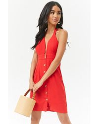 Forever 21 - Red Women's Plunging Halter Button-front Mini Dress - Lyst
