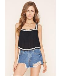 Forever 21 - Black Embroidered-trim Top - Lyst