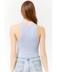 Forever 21 - Blue Cropped Tank Top - Lyst
