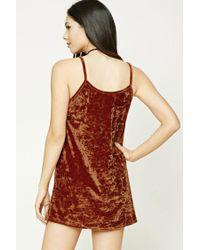Forever 21 Red Crushed Velvet Cami Dress