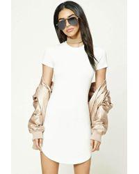 Forever 21 White Curved Hem T-shirt Dress