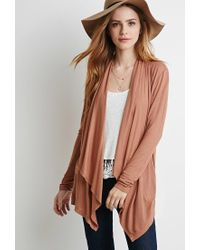 Forever 21 - Brown Open-front Knit Cardigan - Lyst
