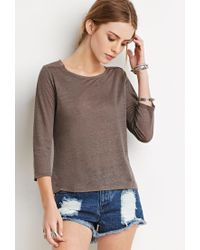 Forever 21 - Gray Embroidered Mesh-paneled Top - Lyst