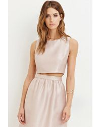 Forever 21 | Pink Contemporary Sheeny Crop Top | Lyst