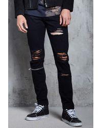 Forever 21 | Black Distressed Slim-fit Jeans for Men | Lyst