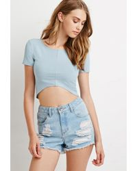 Forever 21 - Blue Curved Hem Crop Top - Lyst