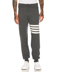 Thom Browne - Gray Cashmere 4 Bar Stripe Sweatpants for Men - Lyst