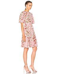 Valentino - Pink Floral-printed Silk Dress - Lyst