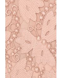 Valentino - Pink Embellished Lace Long Sleeve Dress - Lyst