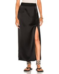 Baja East - Black Satin Back Crepe Skirt - Lyst