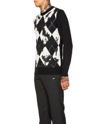 Alexander McQueen | Black Worn Away Argyle Sweater | Lyst