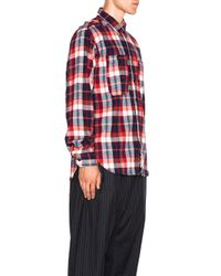 Engineered Garments | Red Plaid Flannel Work Shirt | Lyst