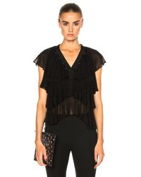 Givenchy | Black Layered Ruffle Blouse | Lyst