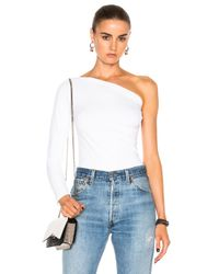 Helmut Lang | White One Shoulder Long Sleeve Top | Lyst