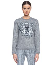 KENZO | Gray Embroidered Tiger Sweatshirt | Lyst