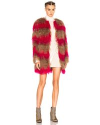 MSGM | Pink Stripe Fur Coat | Lyst