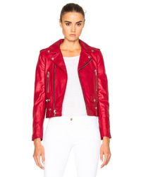Saint Laurent - Red Leather Motorcycle Jacket - Lyst