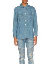 Stampd   Blue Washed Denim Work Shirt for Men   Lyst