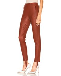 Zeynep Arcay - Red Stretch Leather Stirrup Pants In Brick - Lyst