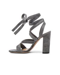 Gianvito Rossi - Gray Suede Janis High Sandals - Lyst