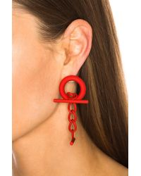 Monse - Red Cuff Link Earrings - Lyst