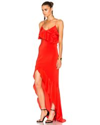 Michelle Mason | Red Asymmetrical Ruffle Gown | Lyst